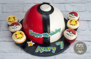 mmc bakes, custom cakes, san diego, chula vista, pokemon cake, poke ball cake, fondant cake, 7th birthday,