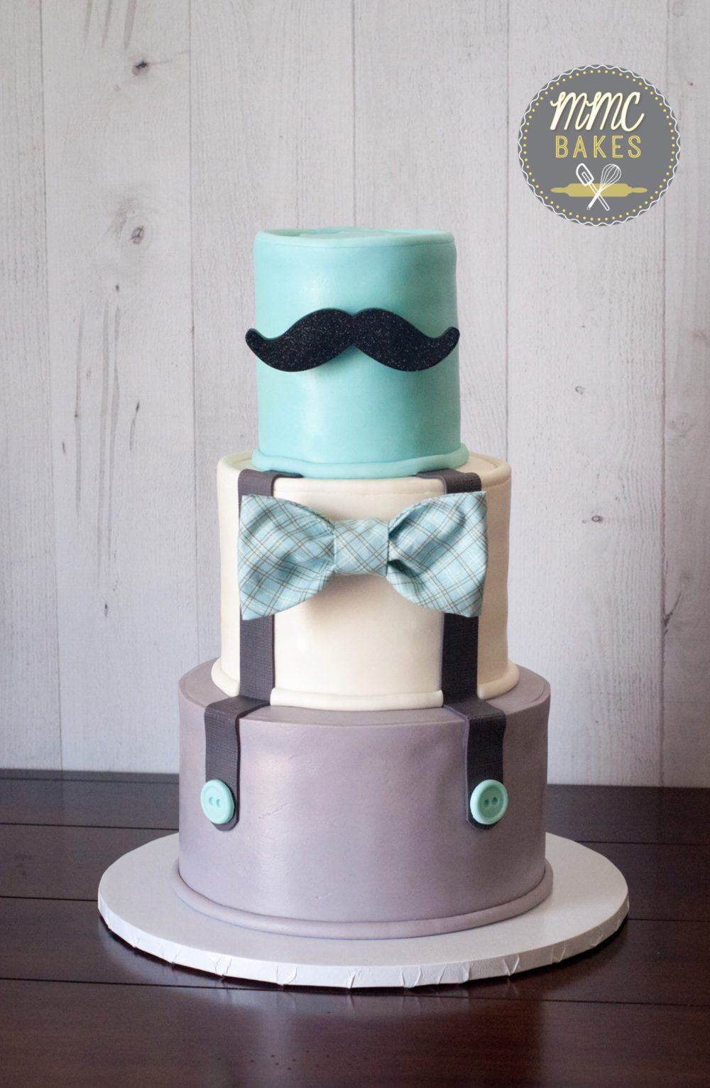 little man cake, mr. onederful, bow tie, plaid, baby blue, mustache cake, baby shower cake, fondant, custom cake, san diego, chula vista, custom cake, fondant, mustache, baby shower, three tier, mustache cake, mmc bakes,