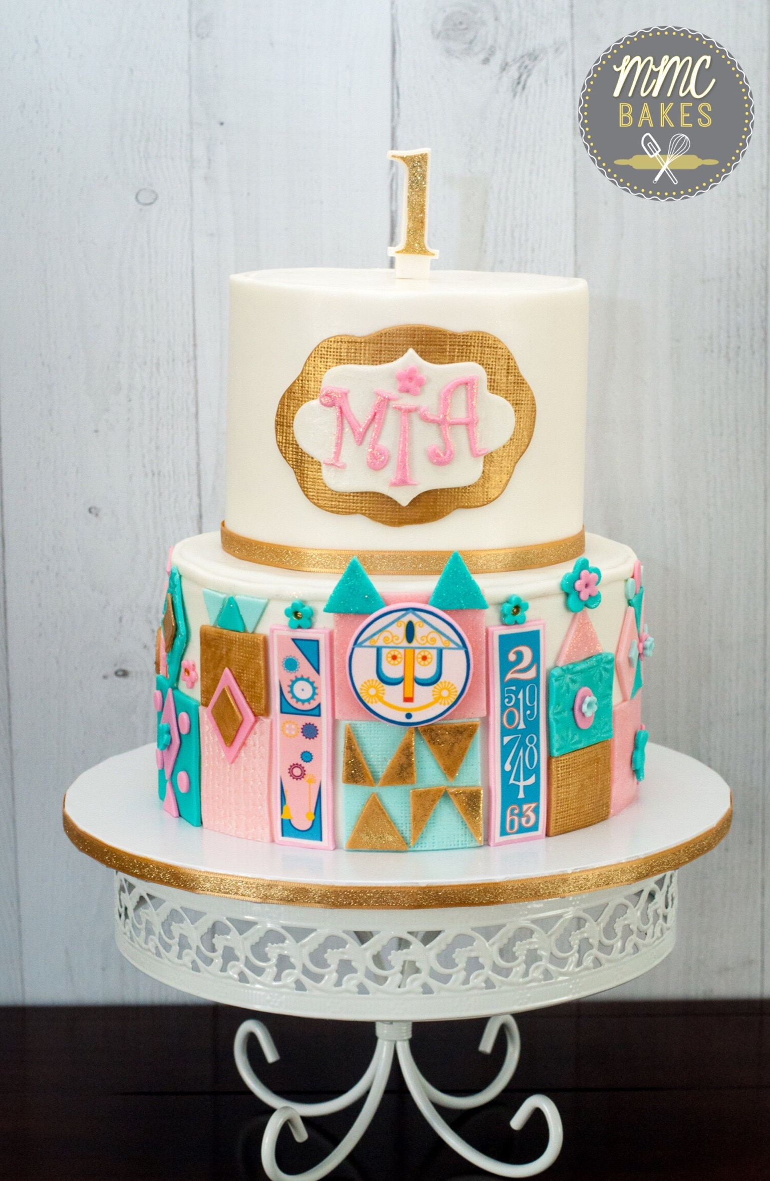 it's a small world cake, it's a small world, mmc bakes, custom cakes, san diego, chula vista, disney cake, fondant cake, 1st birthday