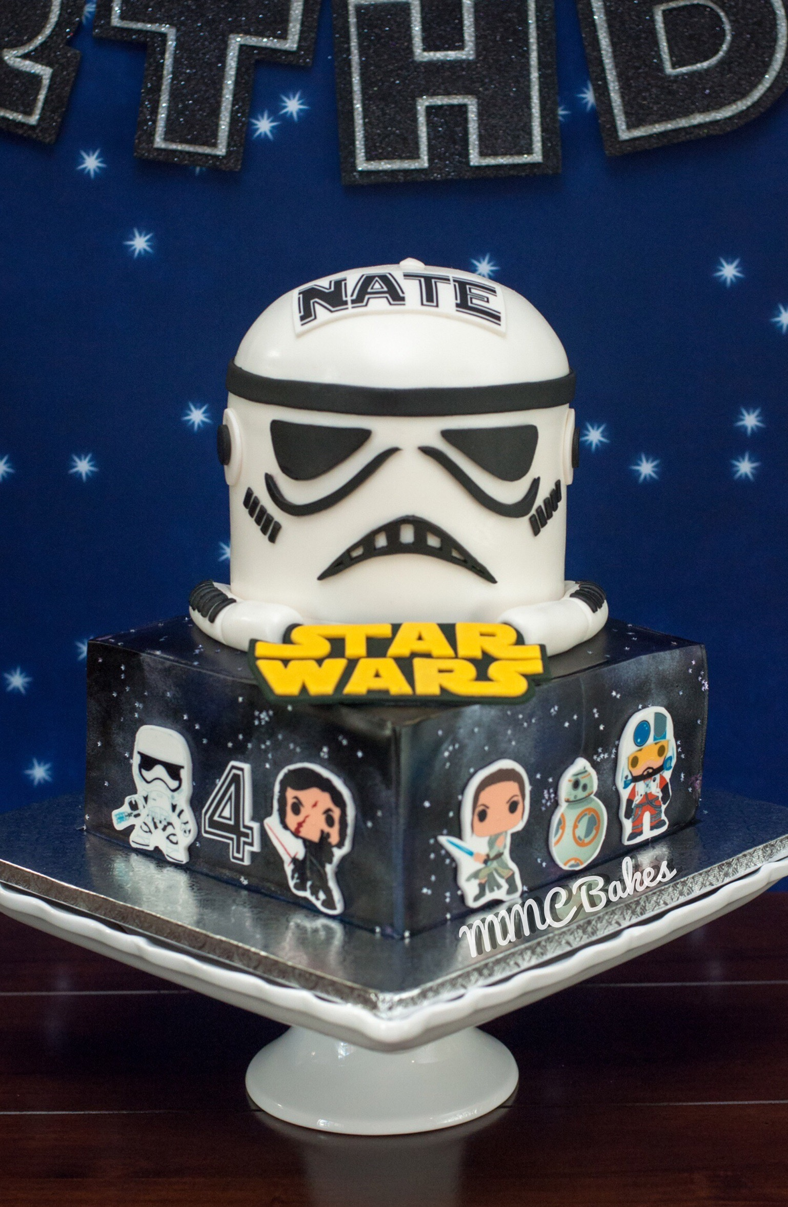 star wars cake, stormtrooper cake, fondant cake, birthday, the force awakens, star wars party, mmc bakes, custom cakes, san diego, chula vista